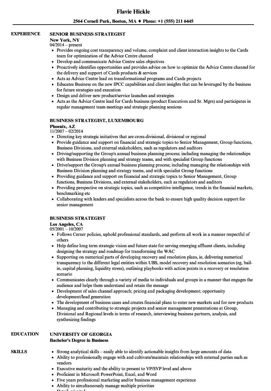 Business Strategist Resume Samples | Velvet Jobs
