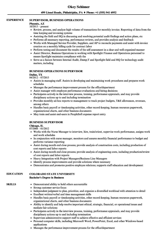 Business Supervisor Resume Samples | Velvet Jobs