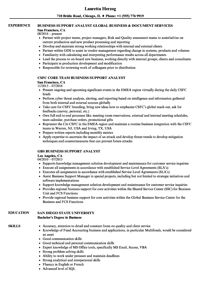 business support  u0026 analyst resume samples