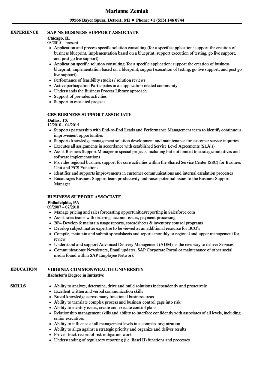 download business support associate resume sample as image file - Business Resume Examples