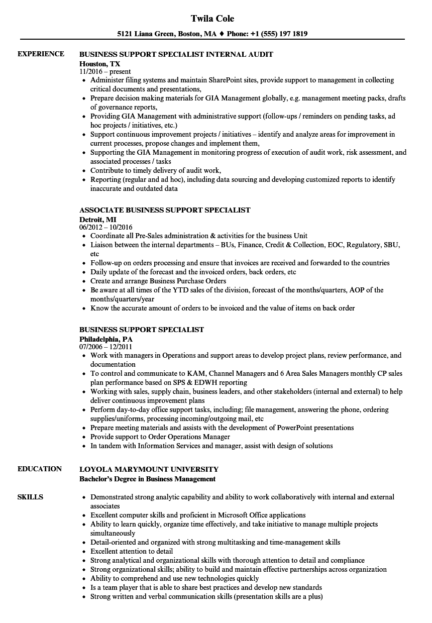 resume for it support