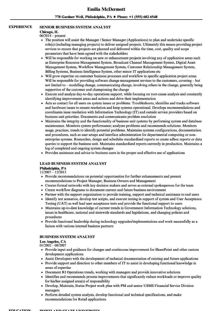 resume examples business systems analyst