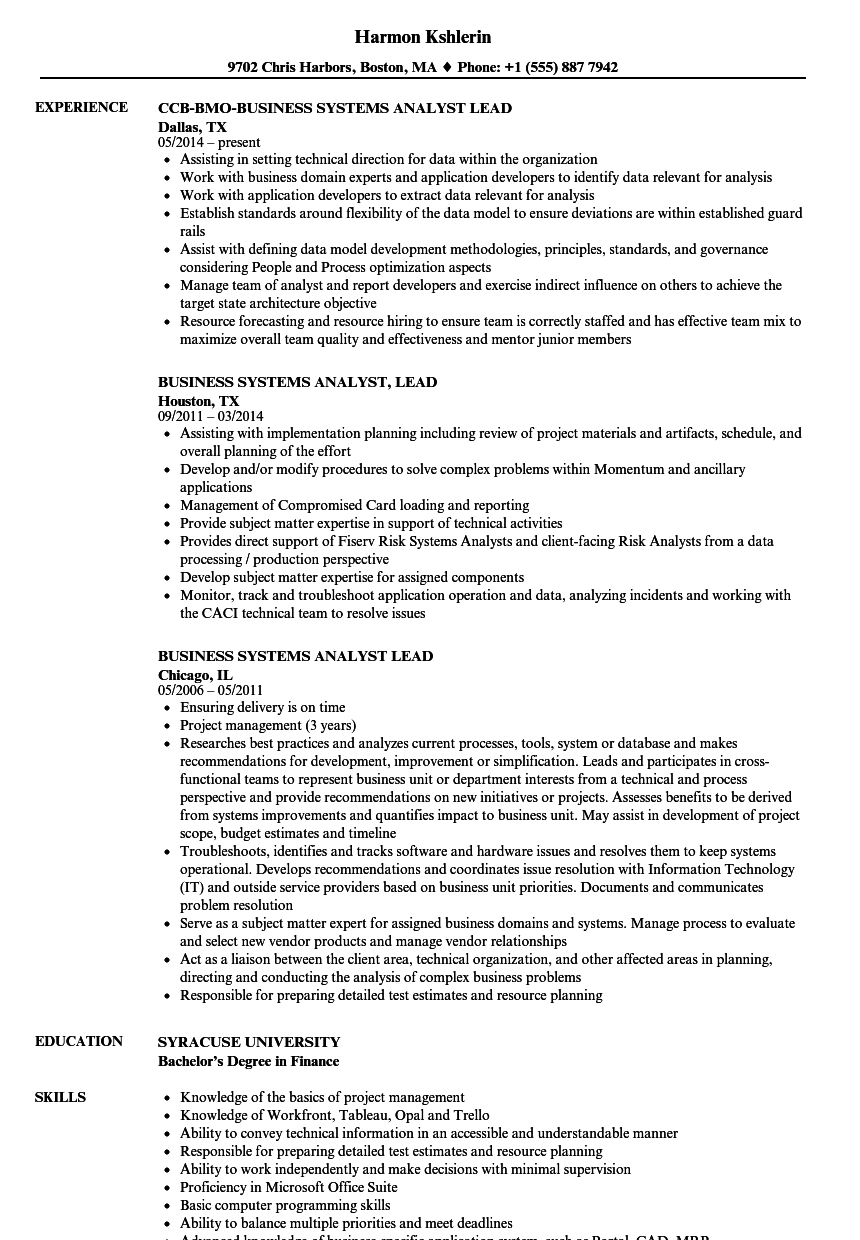 business systems analyst lead resume samples