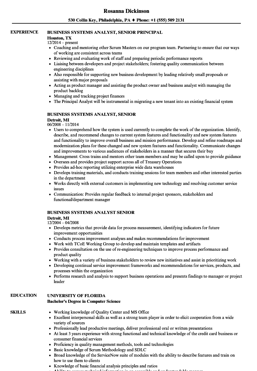 business systems analyst senior resume samples