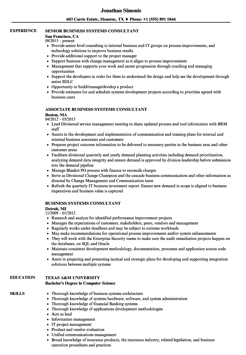 download business systems consultant resume sample as image file - Business Consultant Resume Sample