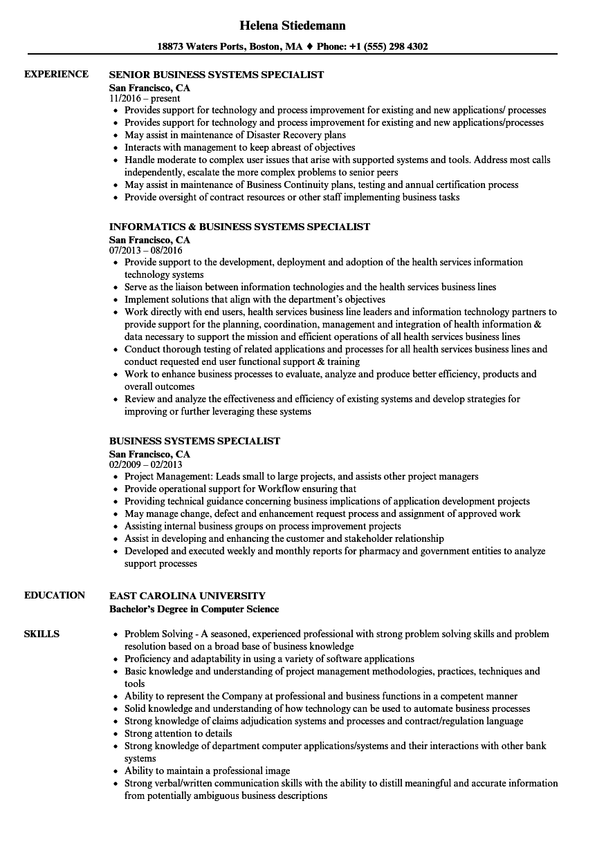 download business systems specialist resume sample as image file - Business Systems Specialist Sample Resume