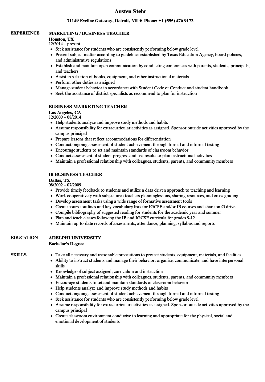 Business Teacher Resume Samples | Velvet Jobs