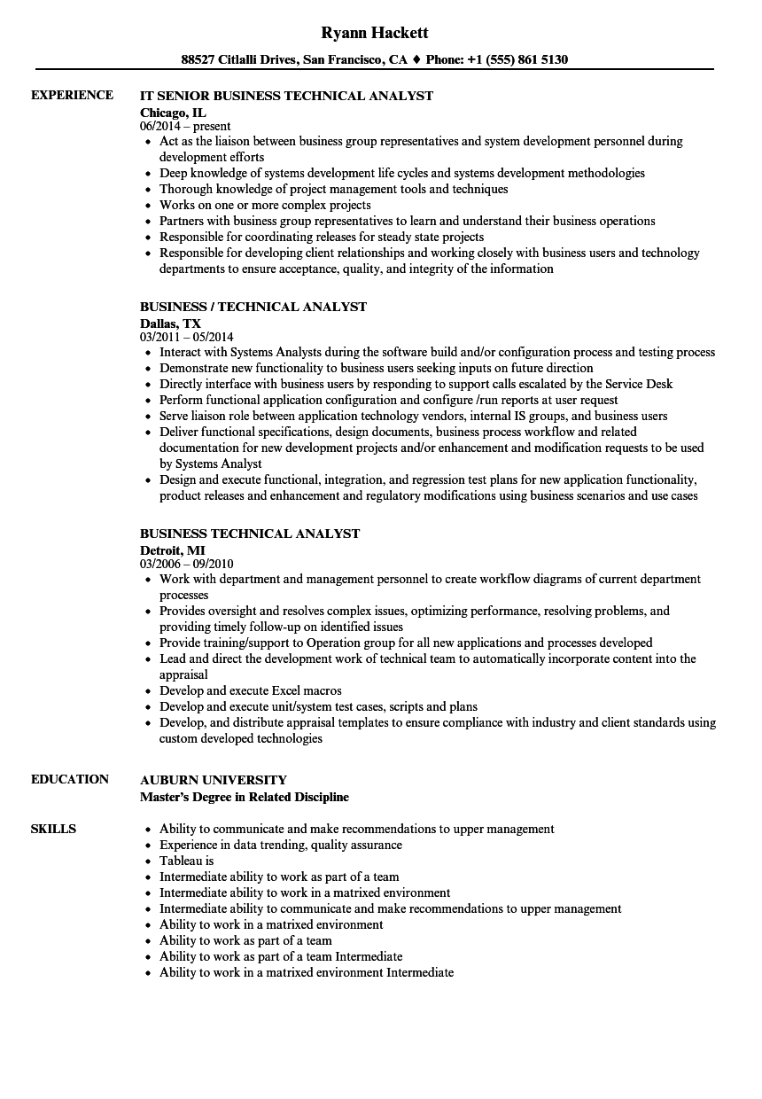 Business Technical Analyst Resume Samples | Velvet Jobs