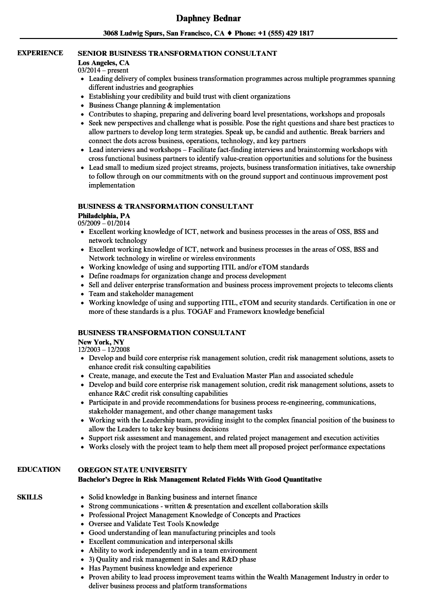 business transformation consultant resume samples