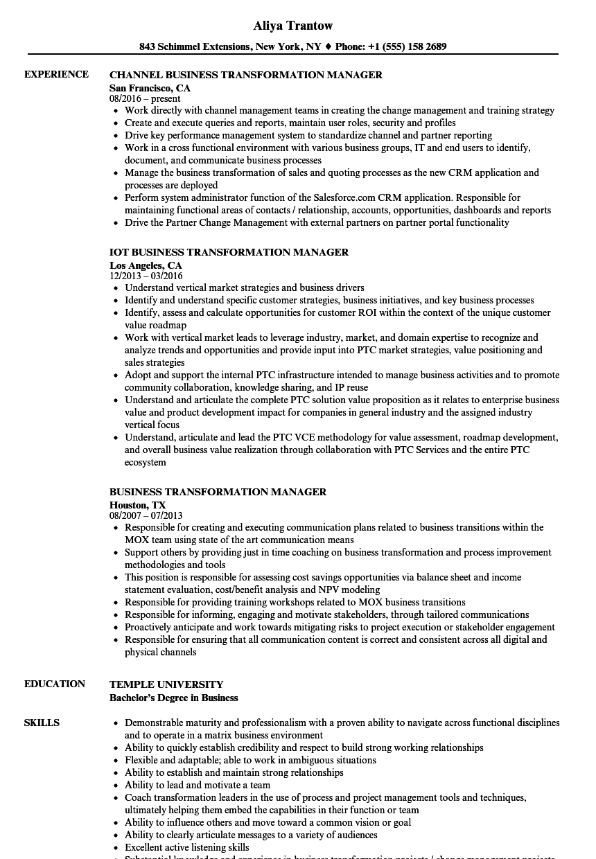 business transformation manager resume samples