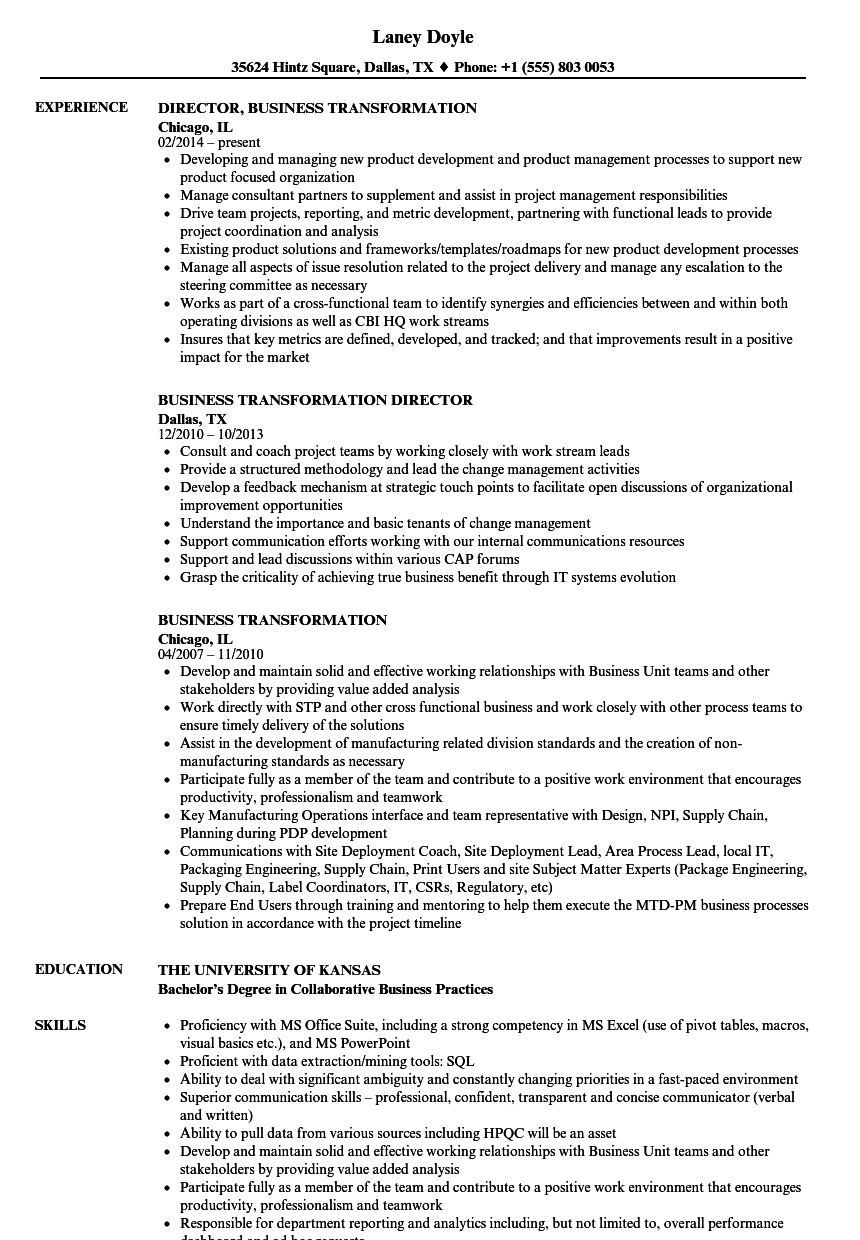 business transformation resume samples