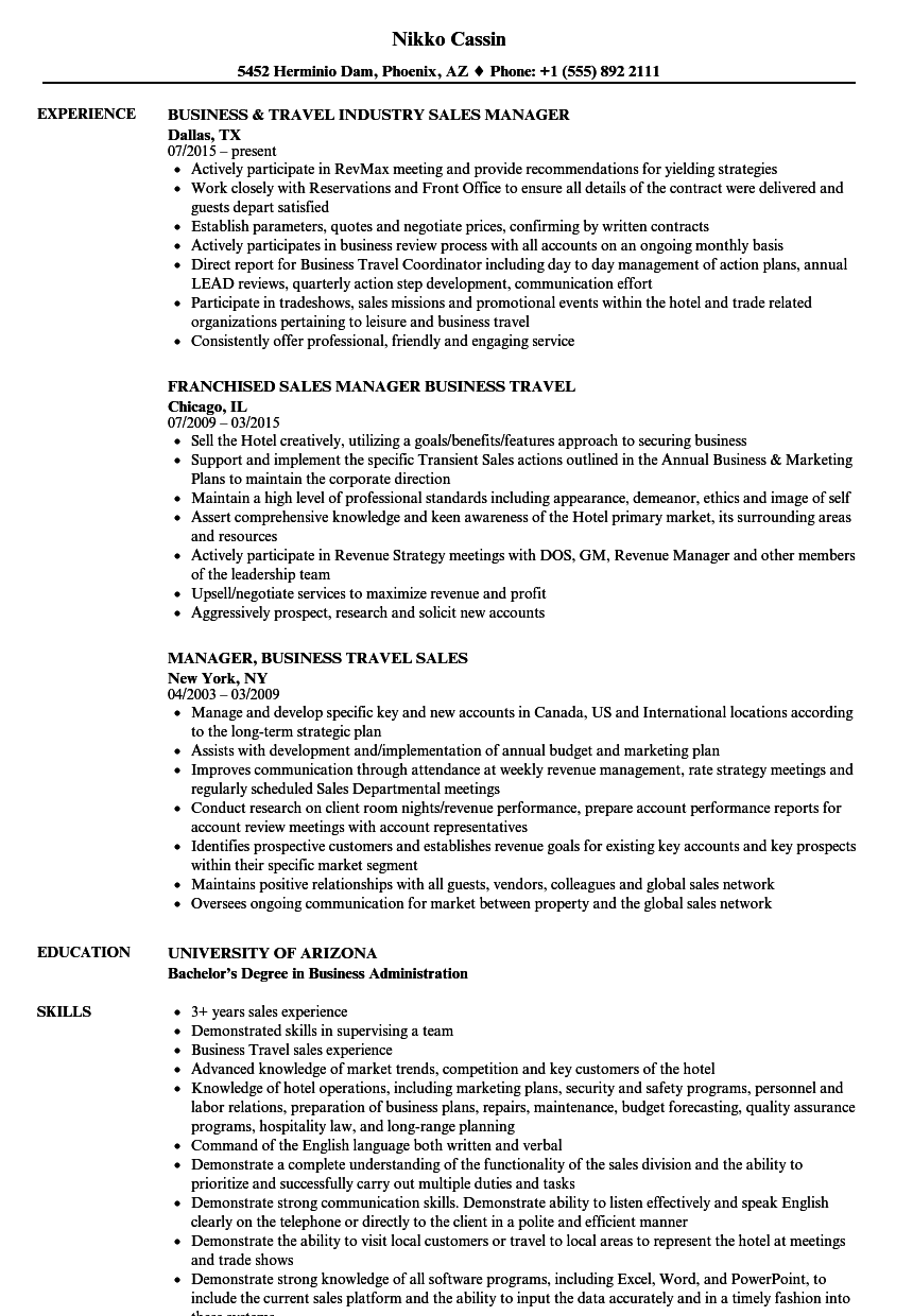 Business Travel Manager Resume Samples | Velvet Jobs