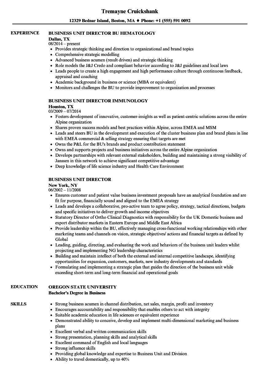 Business Unit Director Resume Samples Velvet Jobs