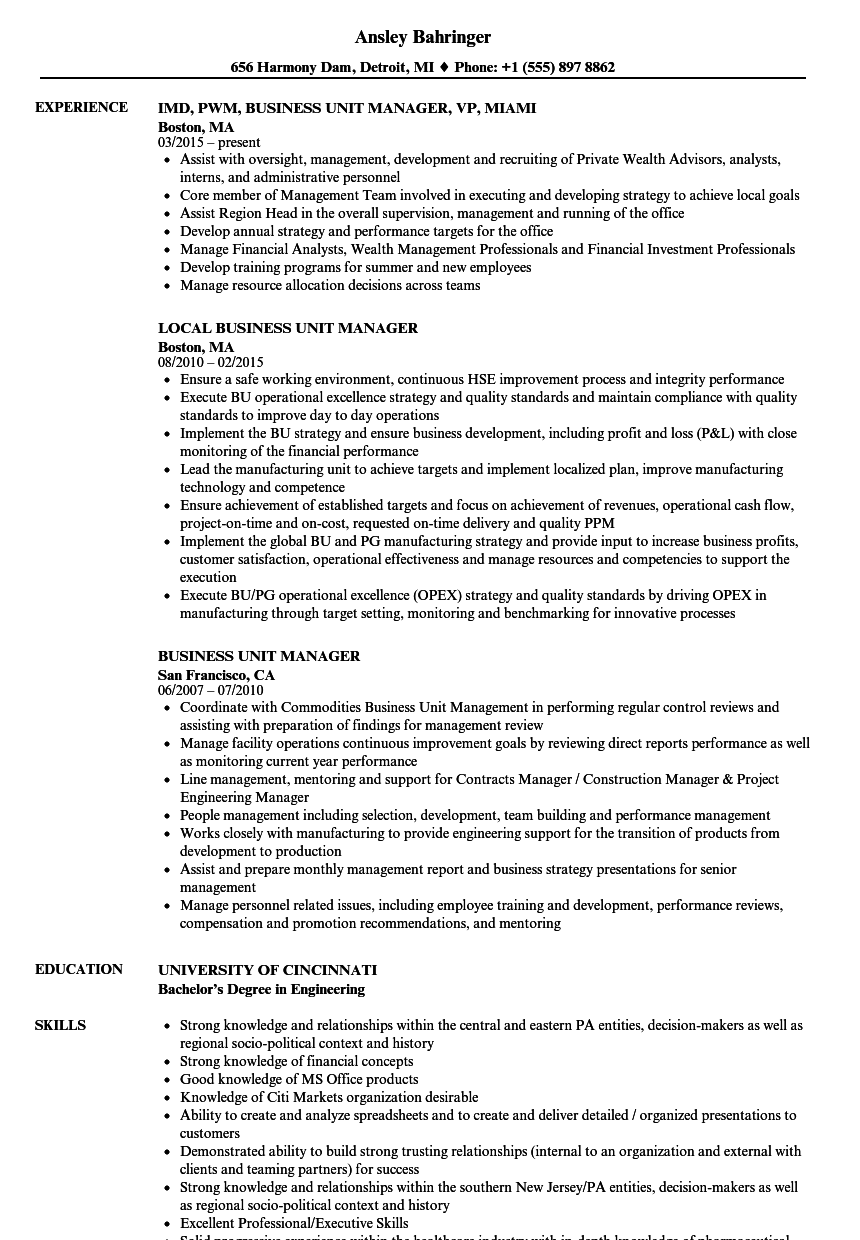 business unit manager resume samples