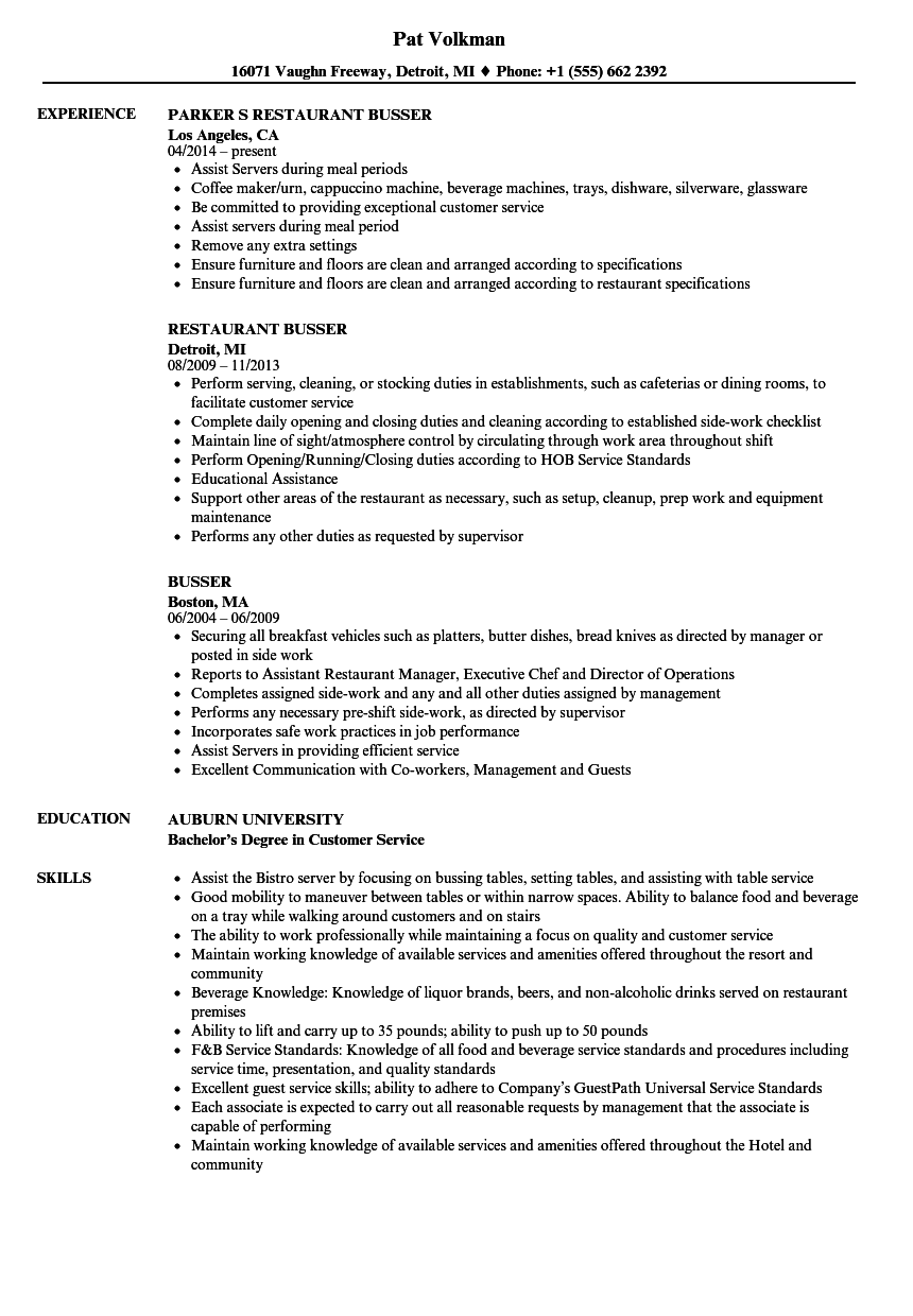 Busser Resume Samples | Velvet Jobs