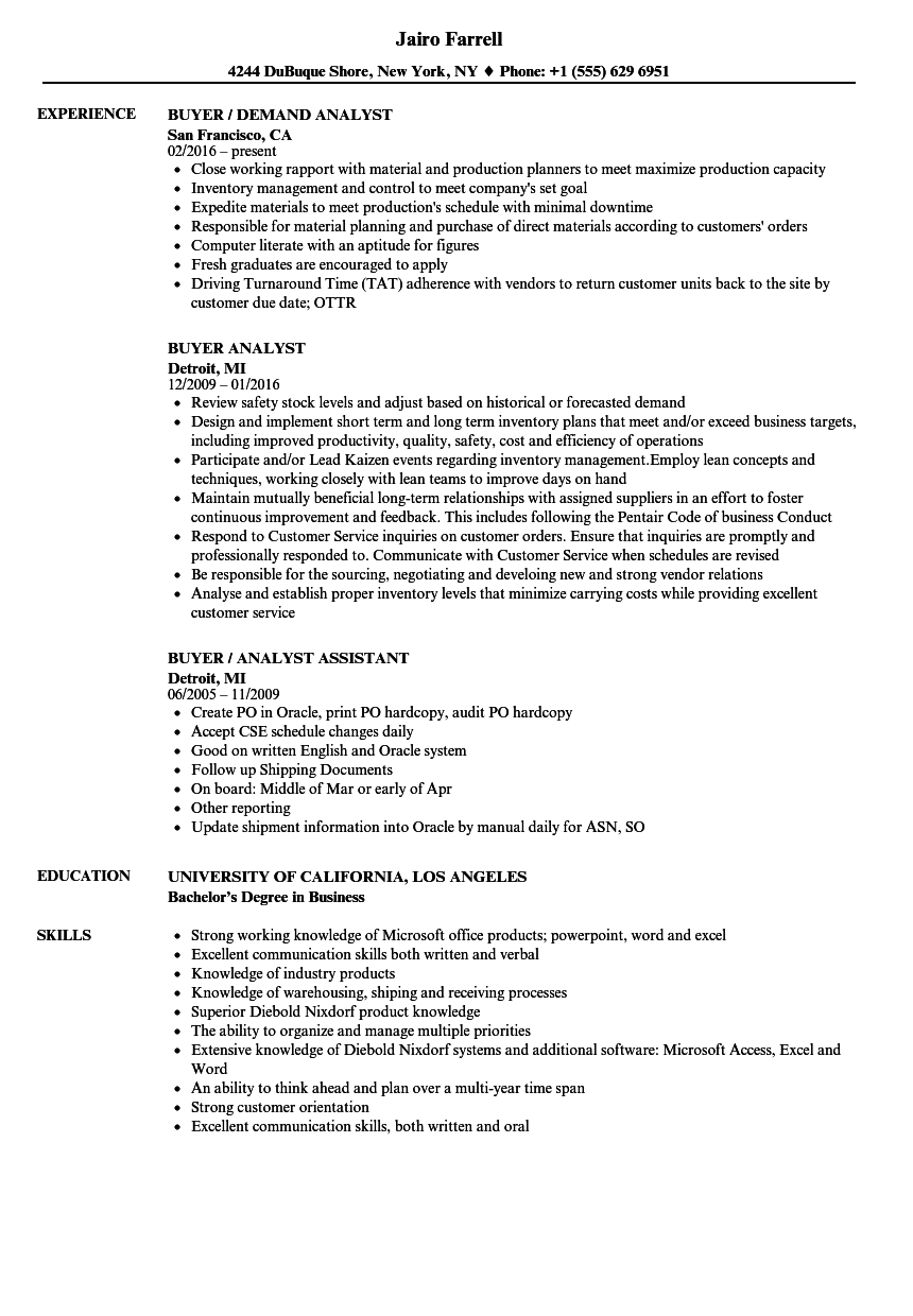 download buyer analyst resume sample as image file - Production Analyst Sample Resume