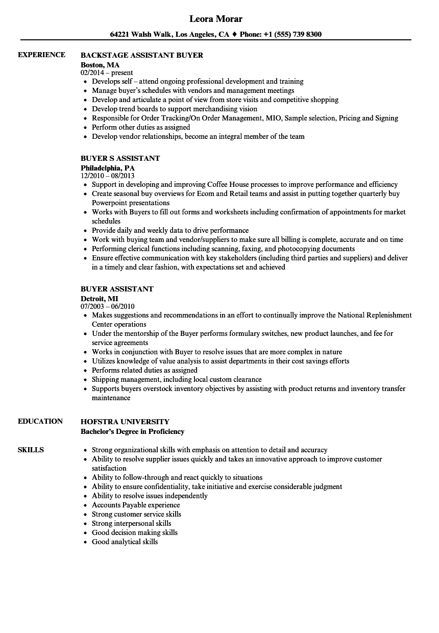 buyer assistant resume samples