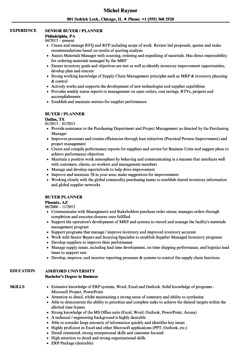 Download Buyer Planner Resume Sample As Image File