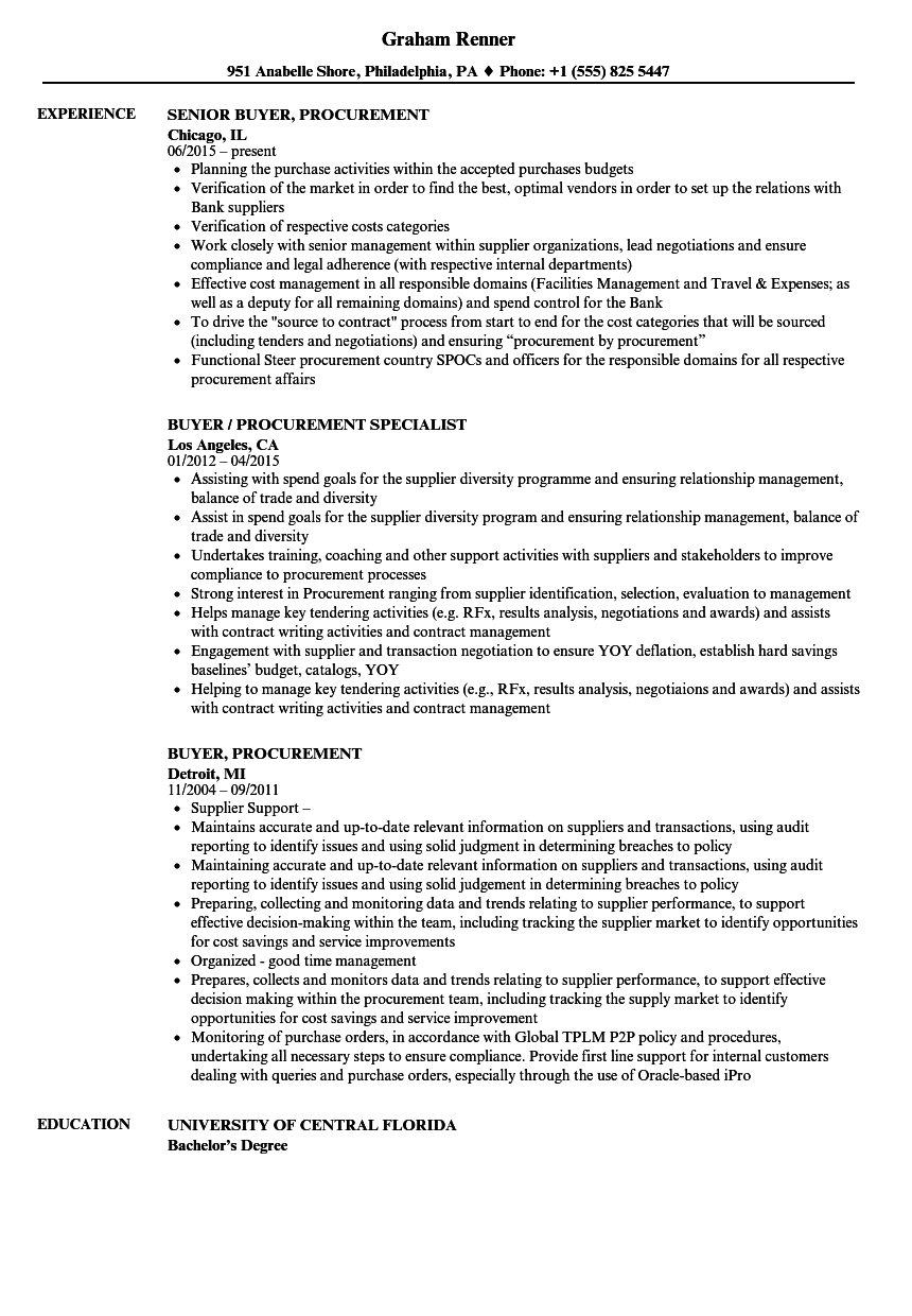 buyer  procurement resume samples