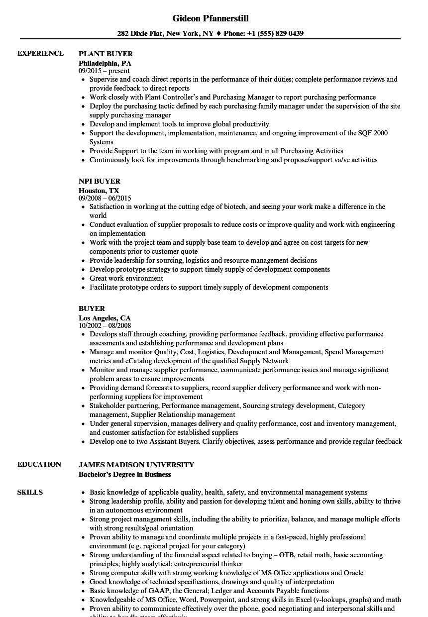 Buyer Resume Samples | Velvet Jobs