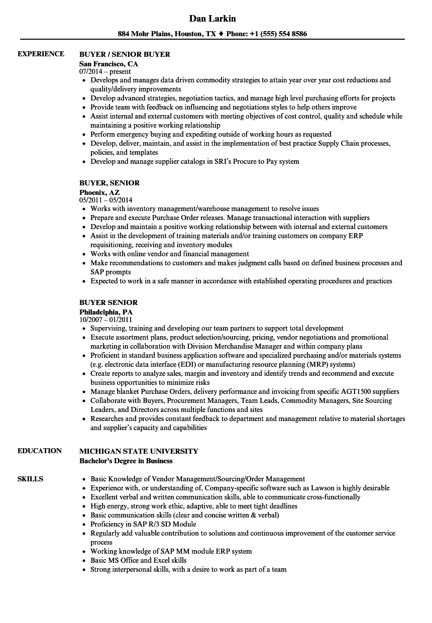 buyer  senior resume samples