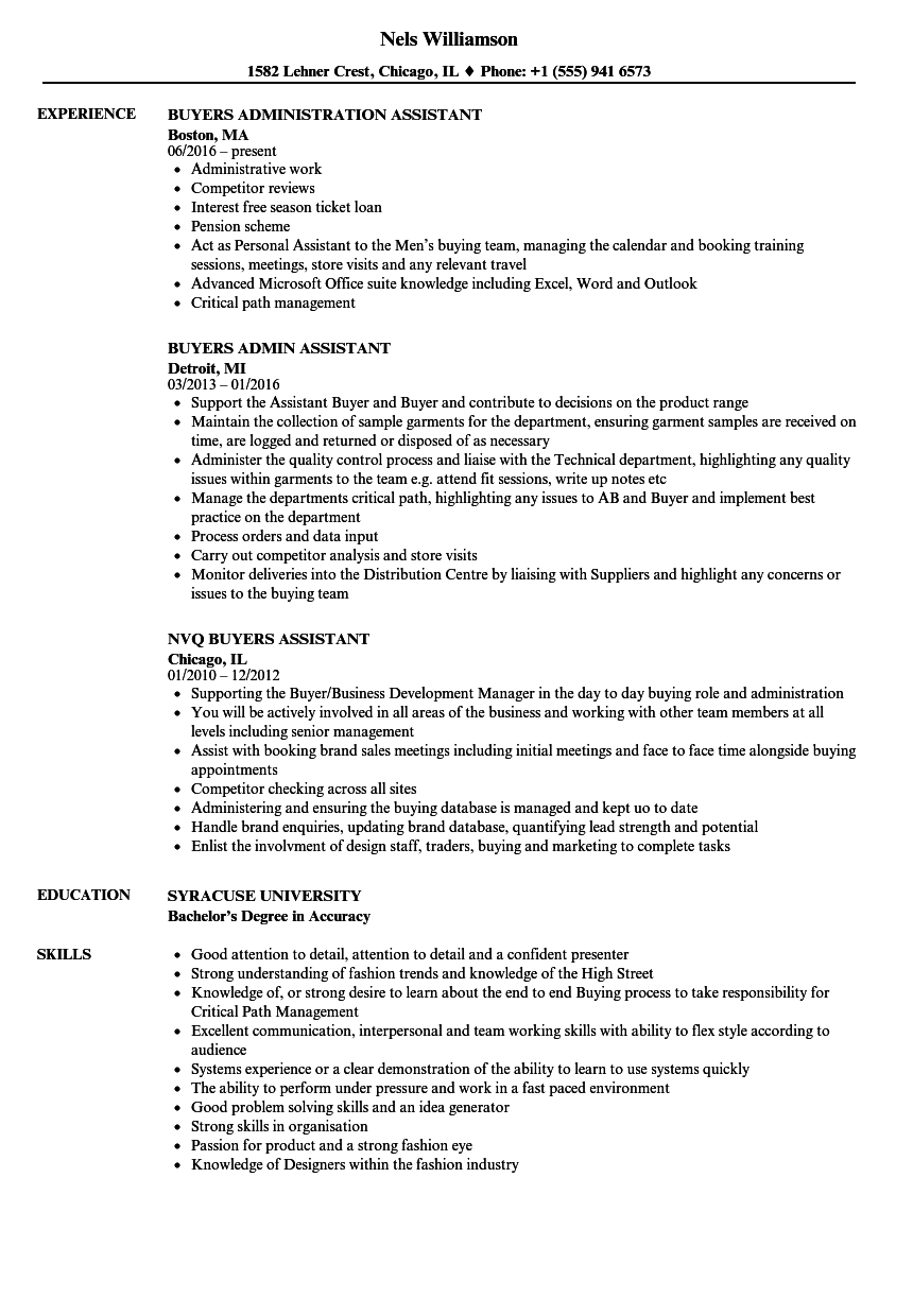 buyers assistant resume samples