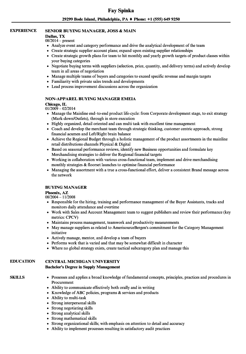 Buying Manager Resume Samples | Velvet Jobs