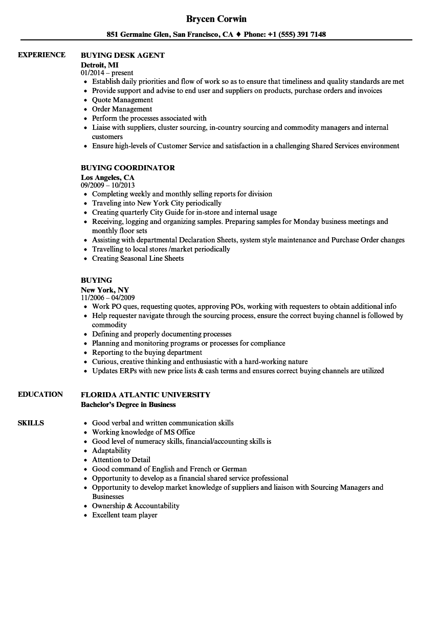 Buying resume