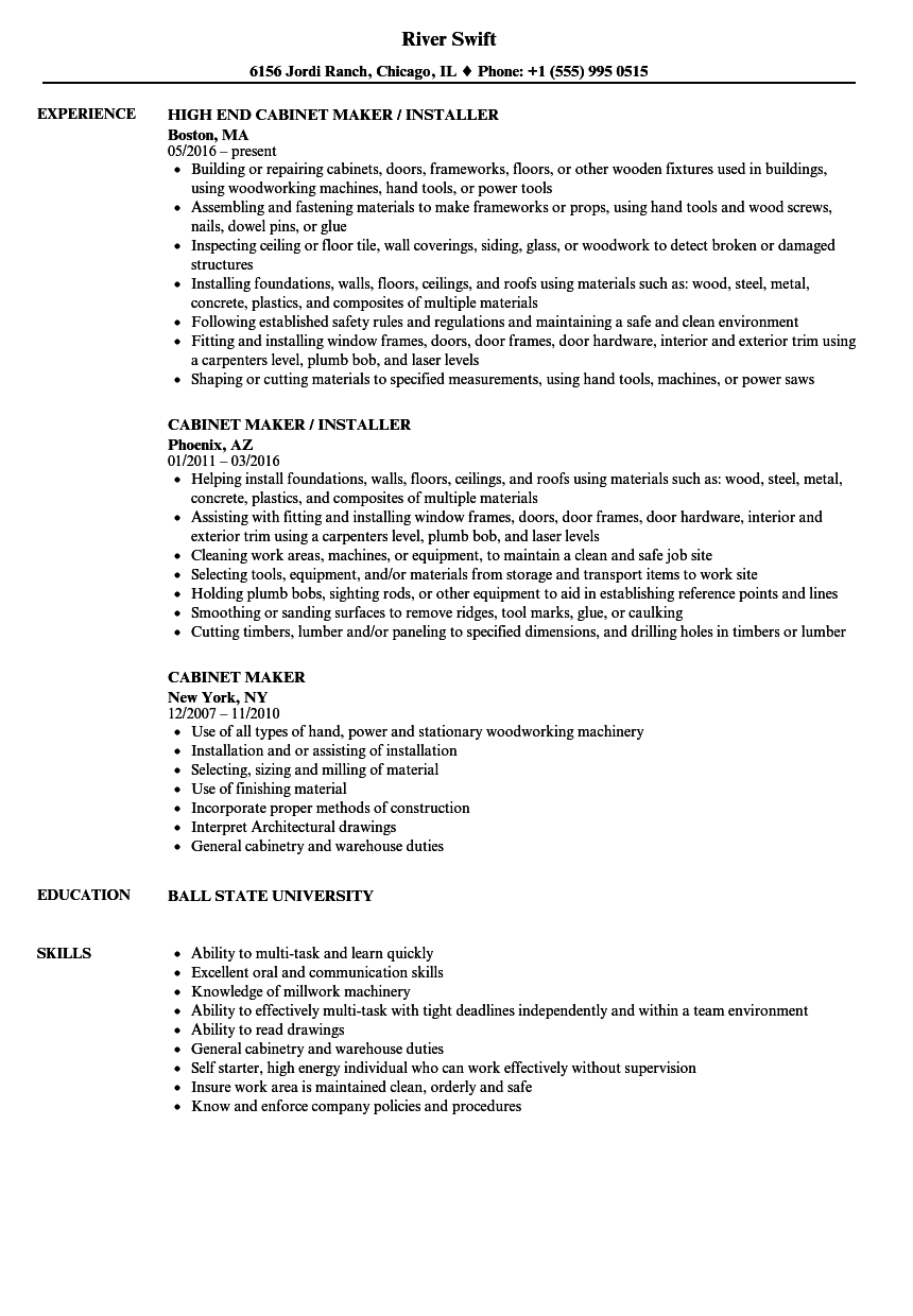 Cabinet Maker Resume Resume Ideas