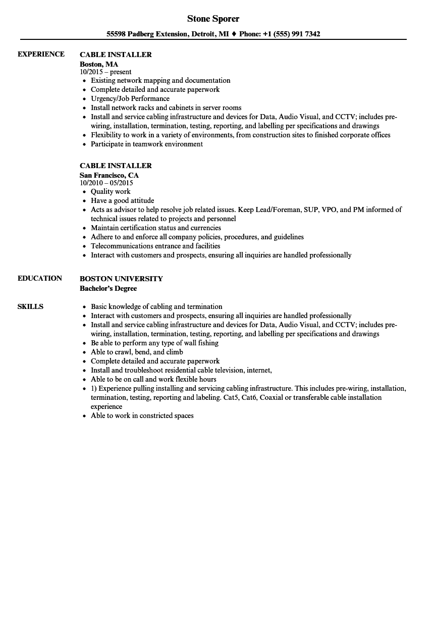 cable installer resume samples
