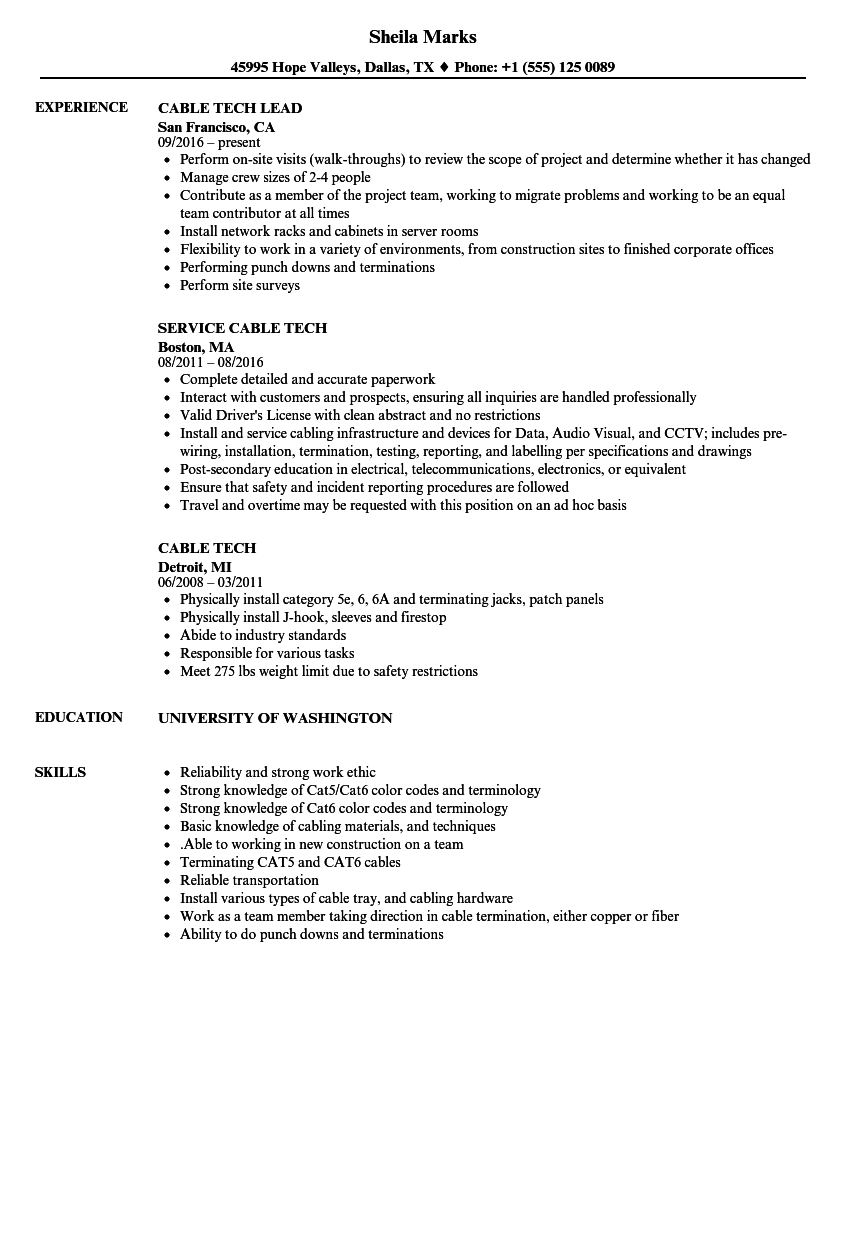 cable tech resume samples