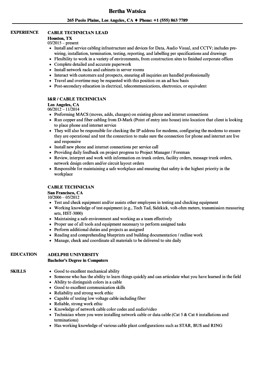 Cable Technician Resume Samples | Velvet Jobs