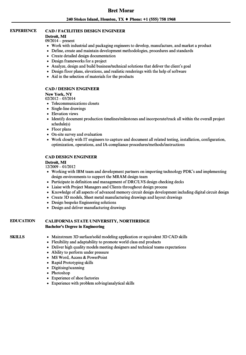 Cad Design Engineer Resume Samples Velvet Jobs