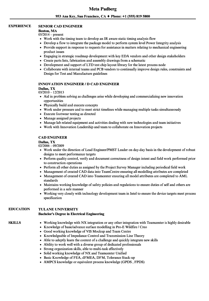 Cad Engineer Resume Samples Velvet Jobs