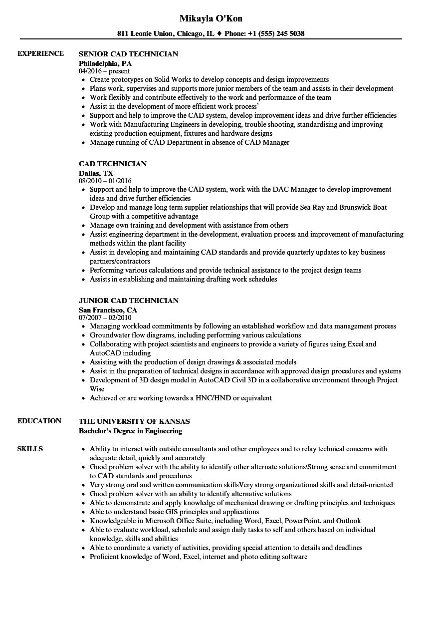 CAD Technician Resume Samples | Velvet Jobs