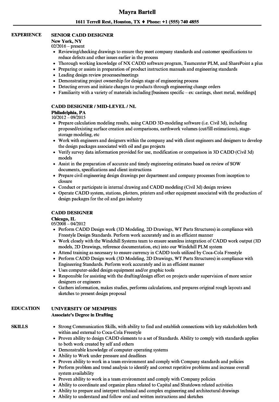 cadd designer resume samples