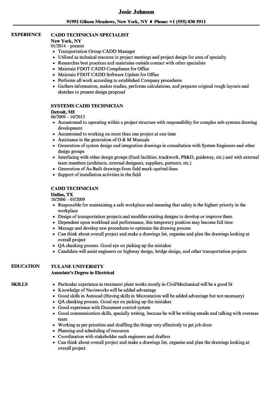 Cadd Technician Resume Samples | Velvet Jobs