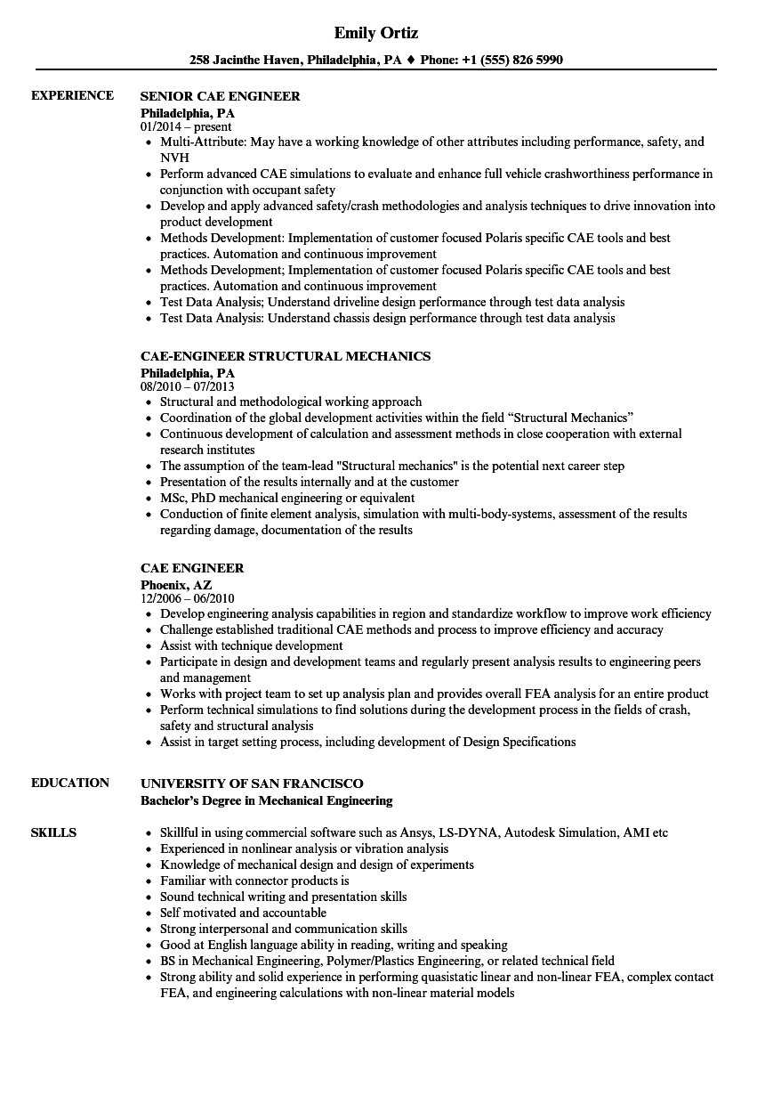 Cae Engineer Resume Samples Velvet Jobs
