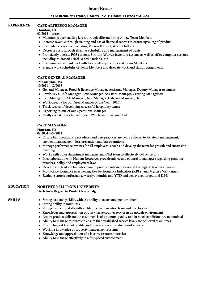 cafe manager resume samples