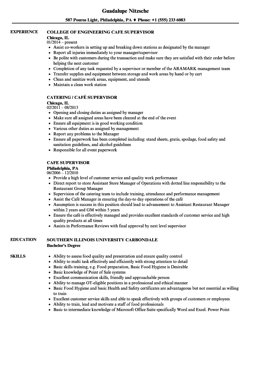 Cafe Supervisor Resume Samples | Velvet Jobs