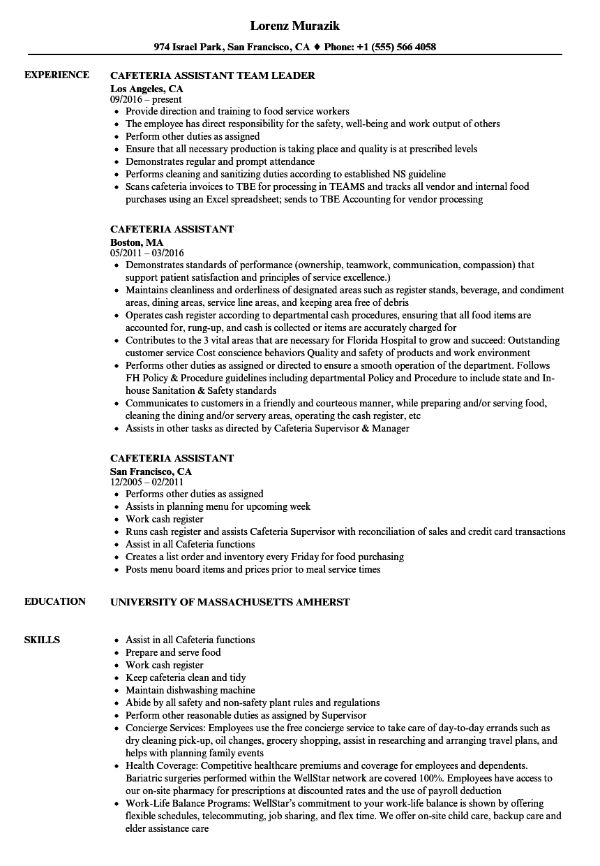 Cafeteria Assistant Resume Samples Velvet Jobs