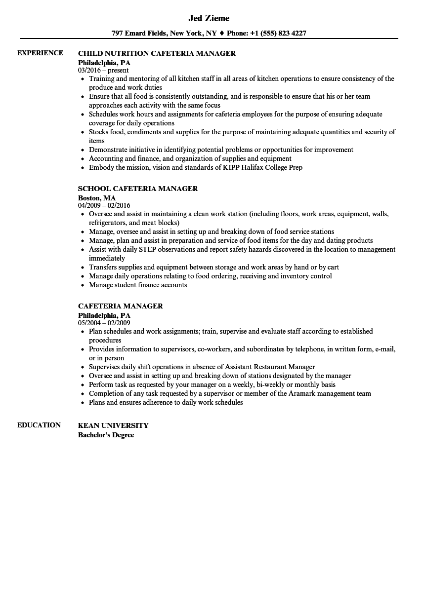 cafeteria manager resume samples
