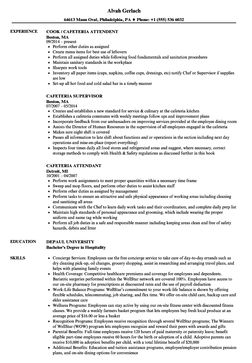 Cafeteria Resume Samples | Velvet Jobs