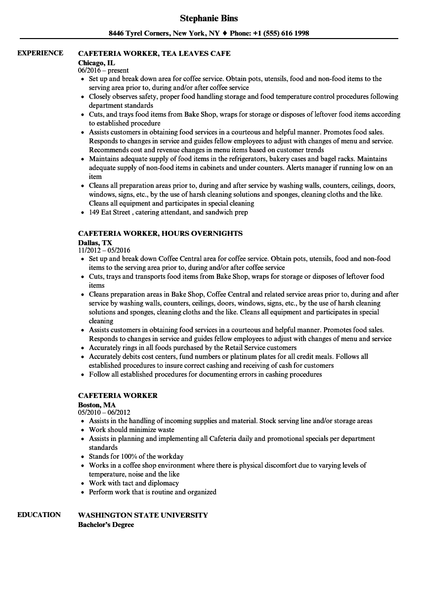 cafeteria worker resume samples