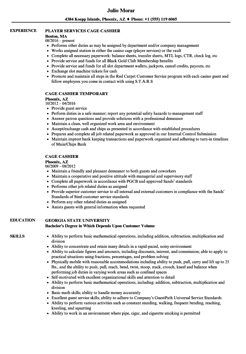 Cage Cashier Resume Samples Velvet Jobs