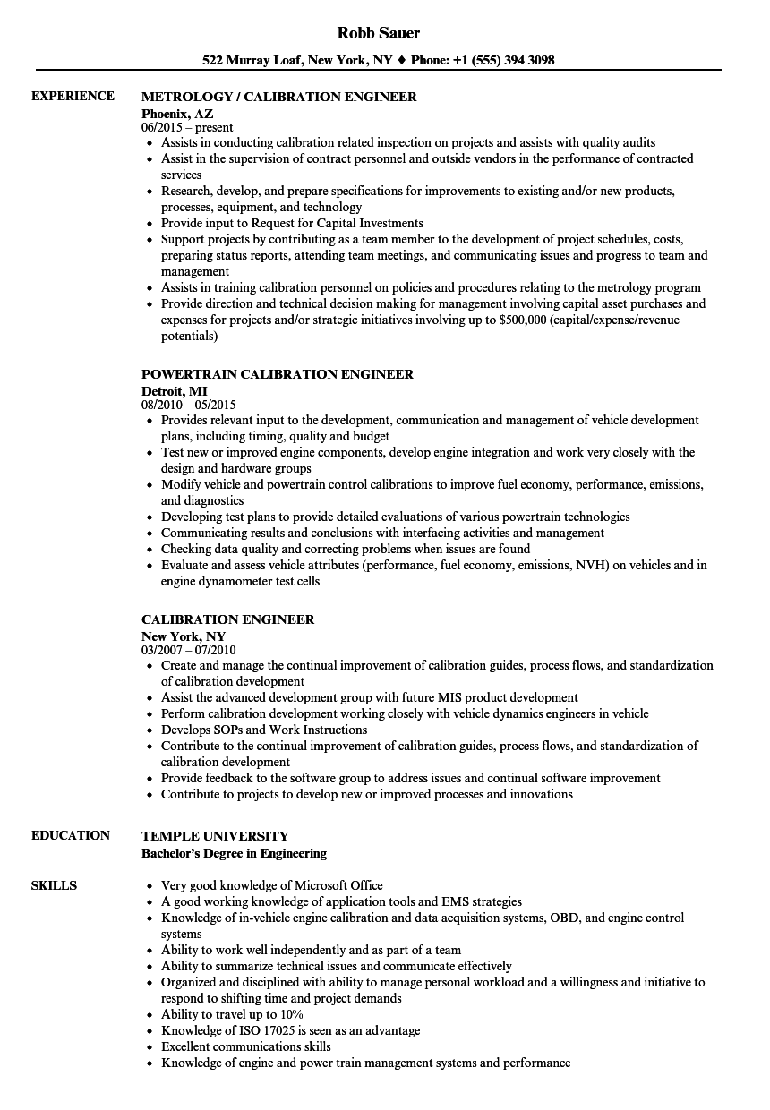 Calibration Engineer Resume Samples | Velvet Jobs