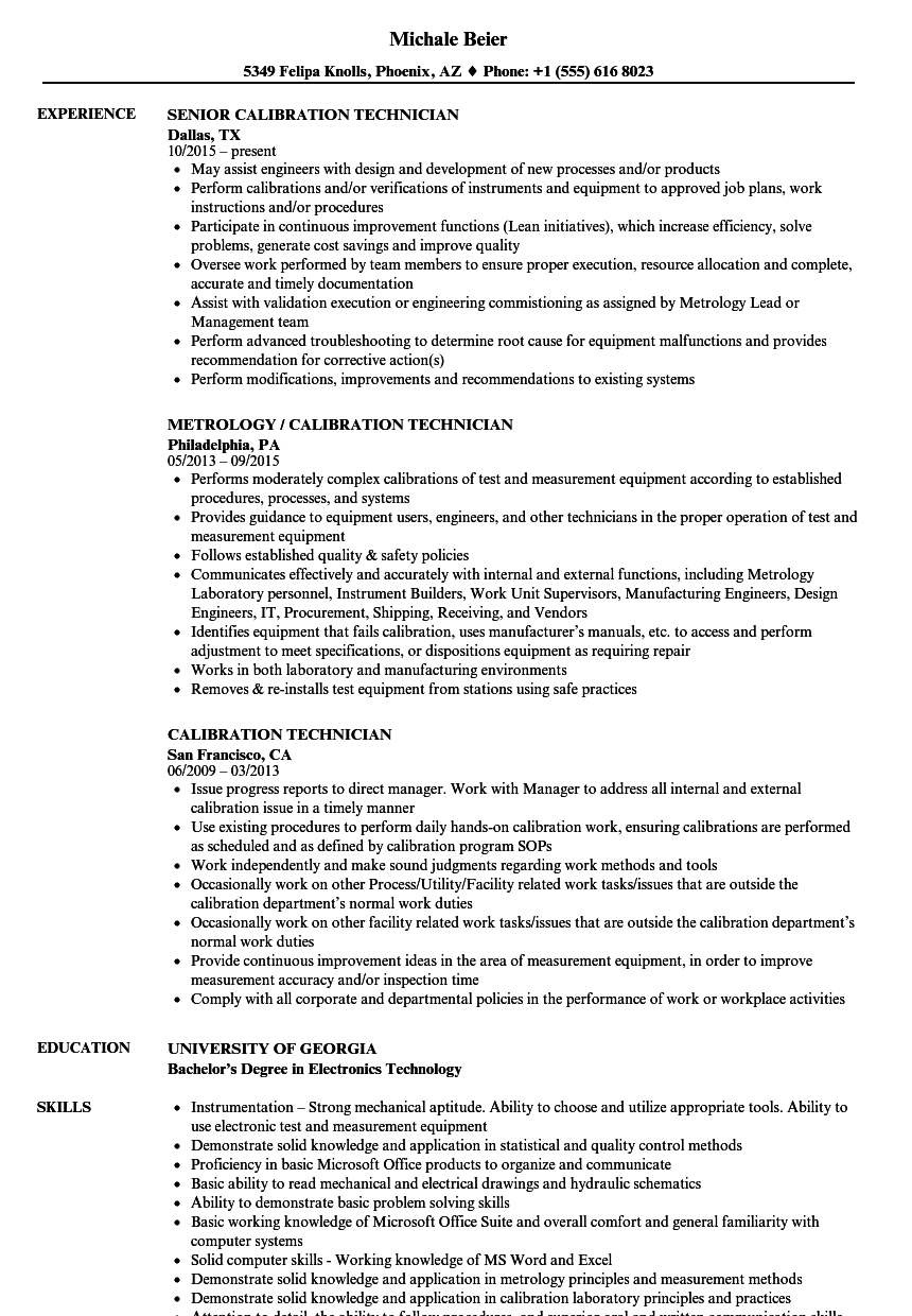Calibration Technician Resume Samples | Velvet Jobs