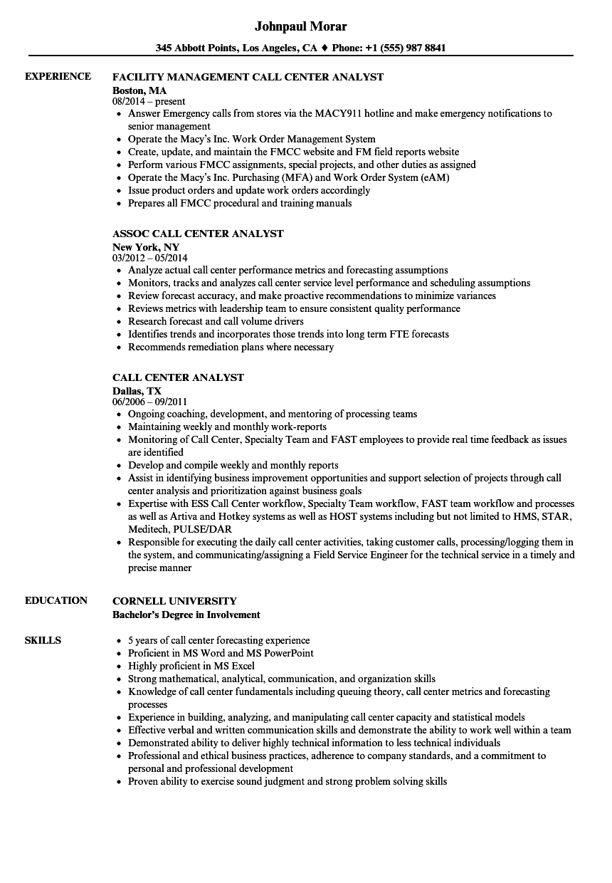 call center analyst resume samples