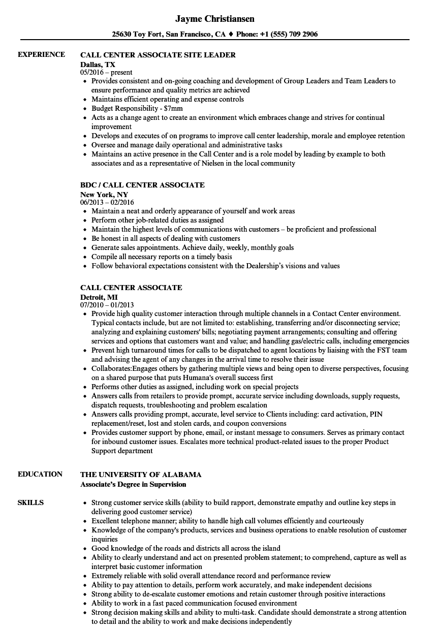 call center associate resume samples