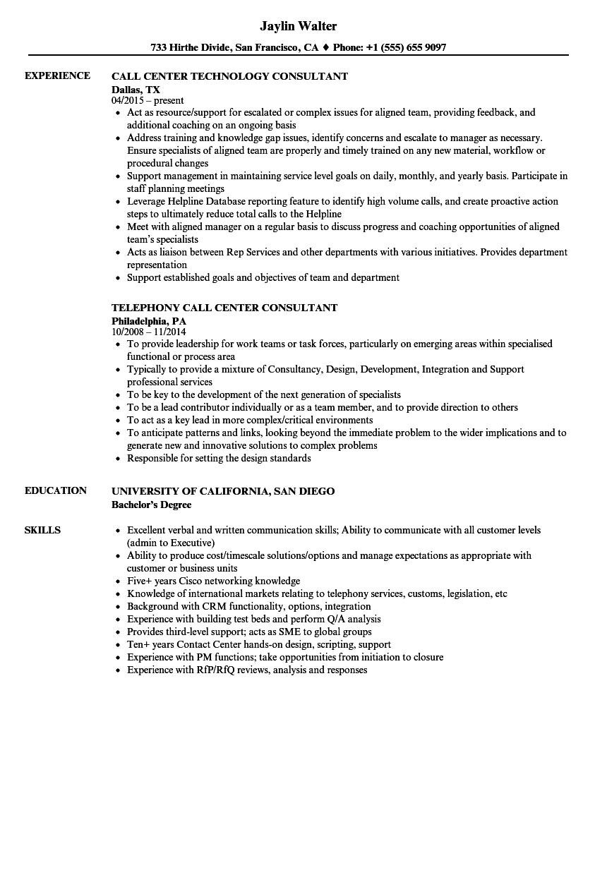 Sample Of Resume For Call Center